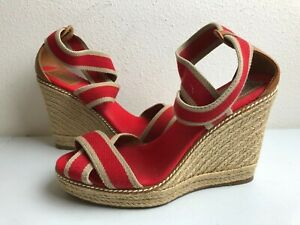 03c2a93c8daff Tory Burch FRIEDA Espadrille RED Strappy Wedge Heel Sandal Shoes 10 ...