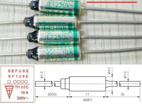 15 PCS SEFUSE Cutoffs SF129E Thermal Fuse 133 °C 10A 250V