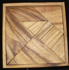 Tangram 7 piece square wood brain teaser puzzle Large Creative Crafthouse