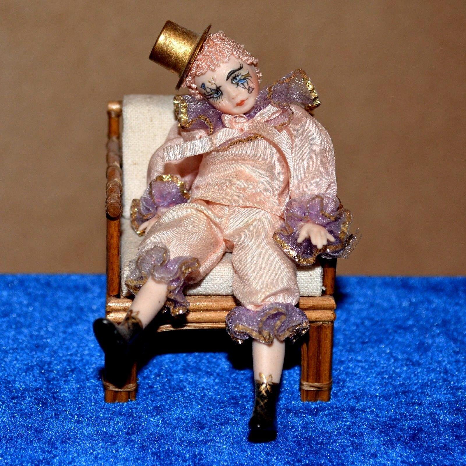 Dollhouse doll miniature porcelain girl 1 12 clown