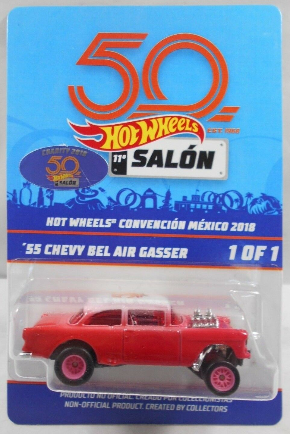 2018 HOT WHEELS 11a MEXICO CONVENTION 1 OF 1 *´55 CHEVY BEL AIR GASSER* CHARITY