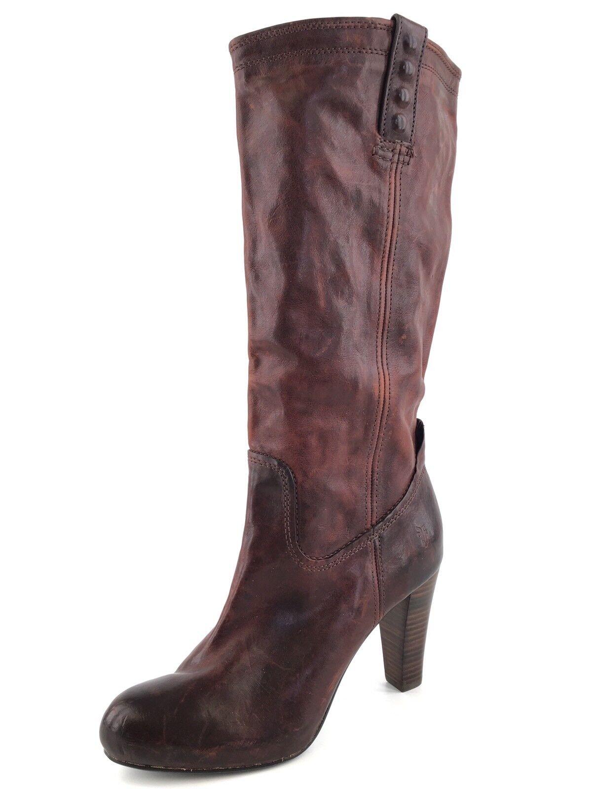 New FRYE 9392 Miranda Stud Tall Redwood Brown Leather Boots Women's Size 9 M*