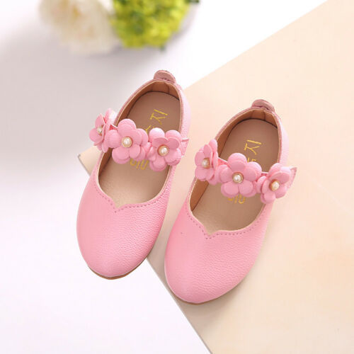 Kids Toddler Baby Girls Princess Shoes Leather Floral Party Wedding Moccasins US