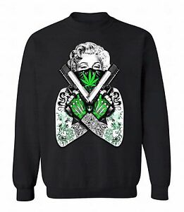Marilyn-Monroe-Marijuana-Leaf-Guns-Crewneck-Tattoo-Sweatshirt-Gangster-Sweater
