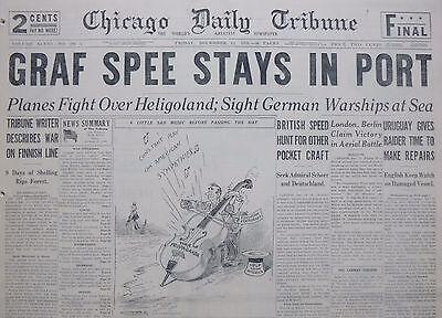 12-1939 WWII December 15 GRAF SPEE STAYS IN PORT PLANES OVER FINLAND URUGUAY