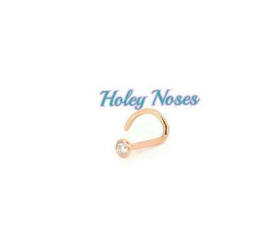 18ct Rose Gold 0.02ct Nose Stud Bone Ring Pin Coneset body jewellery