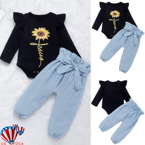 2PCS Newborn Baby Girl Boy Romper Tops Jumpsuit Pants Winter Outfits Clothes Set