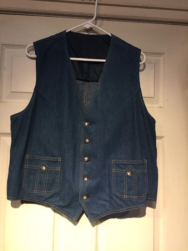 Men's Vintage bluee Denim LEE SET Sanfor-Set Sanforized Jean Vest Sz-46R