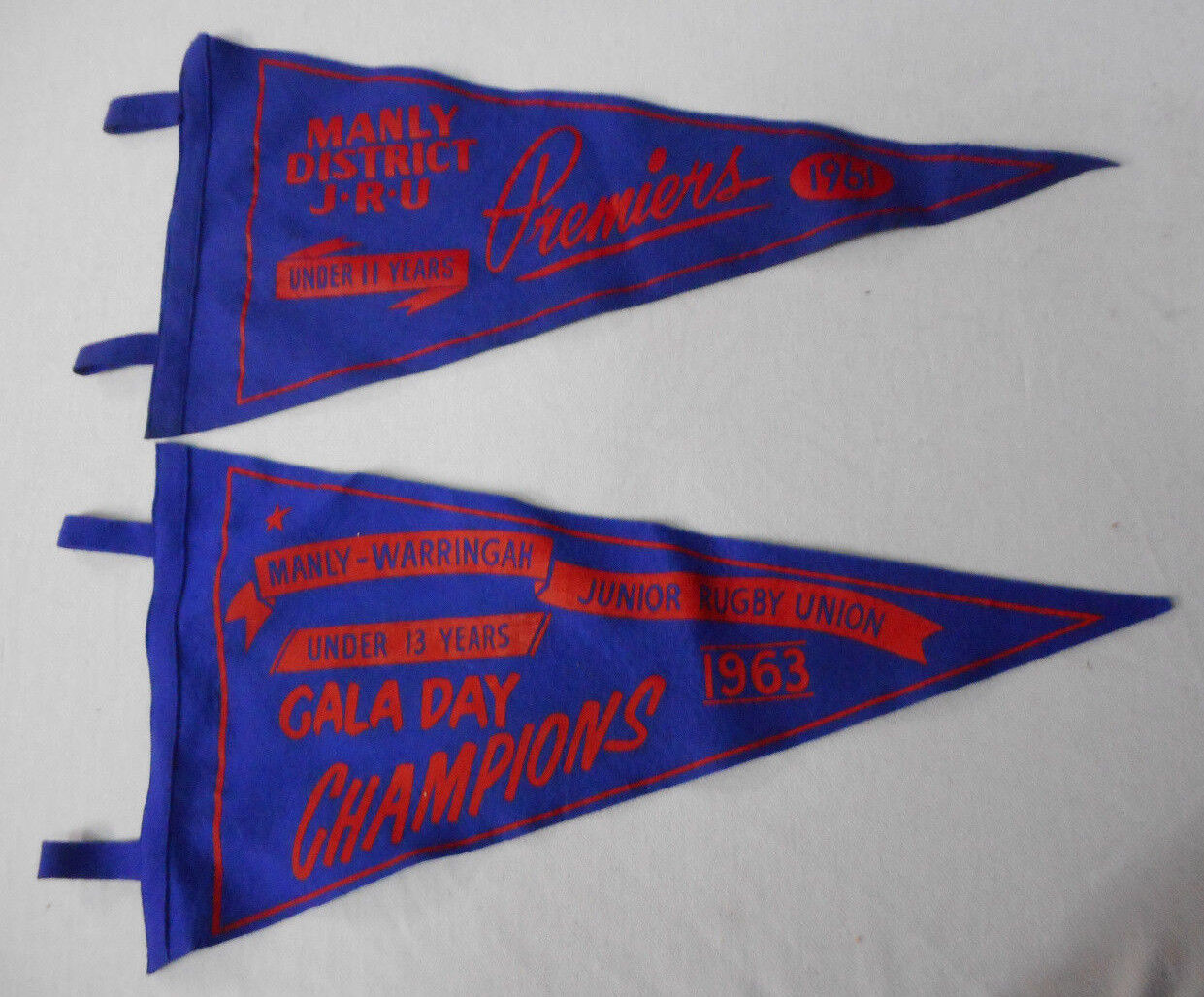 FF1.  TWO MANLY JUNIOR  RUGBY UNION  PENNANTS, 1961 & 1963