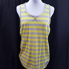 NWT Adidas Yellow Gray Striped Sport Tank Top Size L