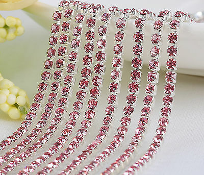 Cystal Rhinestone Close Cup Chain Trimming Claw Chain Jewelry Crafts 1Yard 1-Row