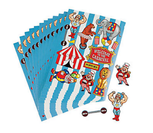 Pack-of-12-Circus-Carnival-Stickers-Great-Party-Bag-Fillers