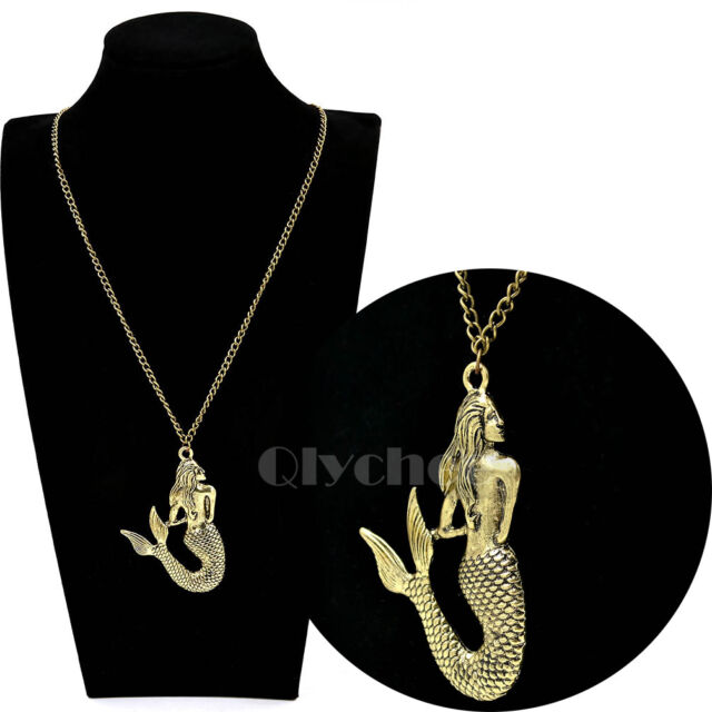 1 Pc New Vintage Mermaid Pendant Chain Necklace Fashion Sweater Chain Jewelry