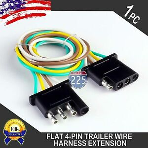 1ft trailer light wiring harness extension 4 pin plug 18 awg flat image is loading 1ft trailer light wiring harness extension 4 pin