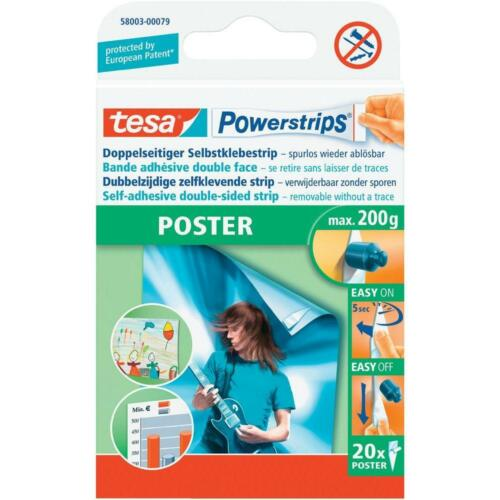 Tesa Powerstrips Poster; double-sided removable strips max weight 200g