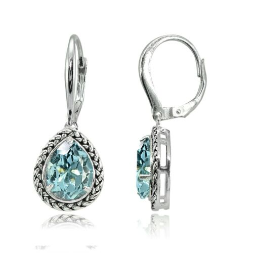 Argent Sterling Topaze Bleue Poire-Cut oxydé Corde Dangle Leverback Boucles D/'oreilles