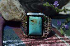 Navajo Sterling Silver Ring w/ Sky Blue Kingman Turquoise Shadowbox & Fans Sz 12