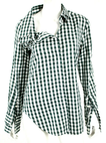 MONSE White & Forest Green Check Cotton Collared A