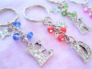 Wedding//Hen Party//Birthday//Christmas Letter Charm Keyring Various Colours