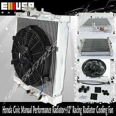 "96-00 Civic Manual Engine Cooling Kit 12/"" Fan Mount Sohc Dual Core Radiator"