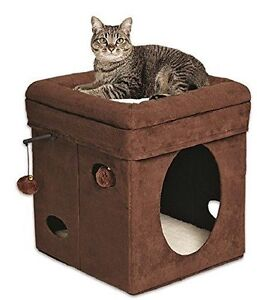 Curious Cat Kitty Pet Play Sit Sleep Hide Nap Bed Furniture Cube House Condo