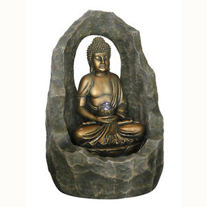 buddha zen bogen cave f r drinnen au enbereich wasserspiel font ne gold ebay. Black Bedroom Furniture Sets. Home Design Ideas
