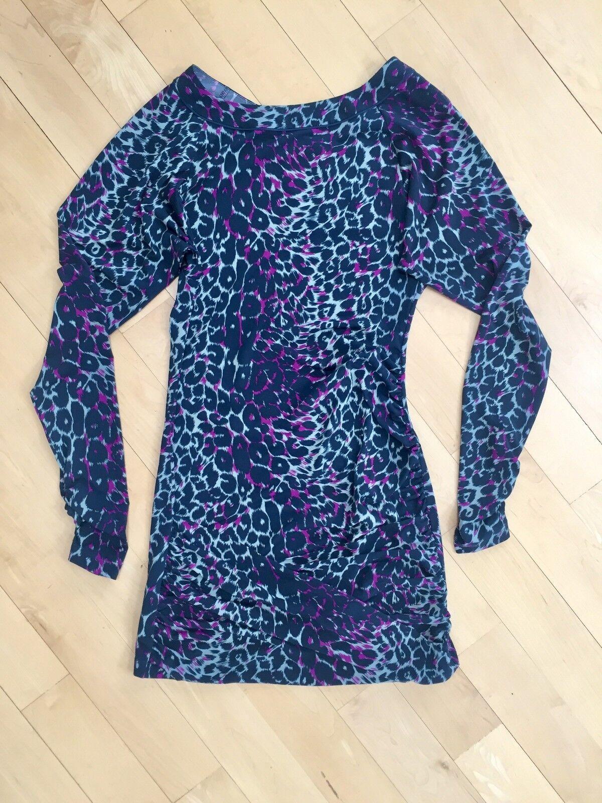 BCBGMAXAZRIA Sexy Long Sleeve Leopard Bodycon Dress, Size S
