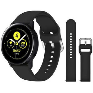 Strap-For-Samsung-Galaxy-Watch-Active-2-Huawei-Silicone-Band-20mm-BLACK