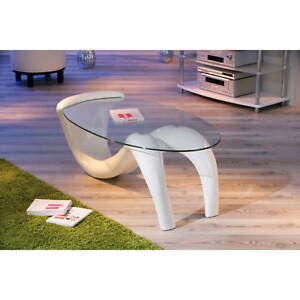 Table-basse-de-salon-d-appoint-oval-design-moderne-verre-securit-pied-BLANC