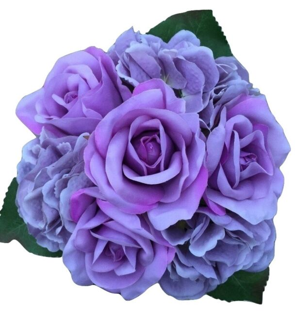 Silk Artificial Purple Mauve Rose Roses Hydrangea Bunch Wedding Bouquet Flowers