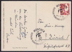 Bund-Mi-Nr-169-EF-Ausstellung-Karte-mit-SST-Muenchen-Zuerich-Schweiz-1953