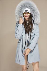 Lining Colored Fur Women Parka Rabbit Army Real Jacket Coat Long qIvavWwyd