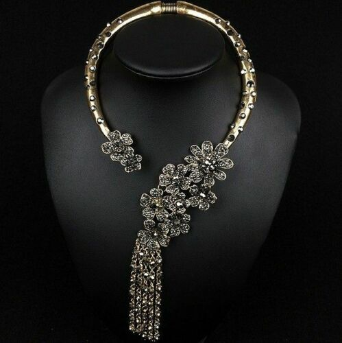 Vintage Ethnic Necklace Women Gold Opening Choker Tribal Female Necklace