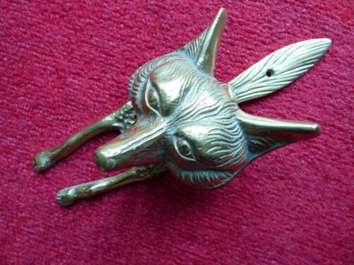 """LARGE COLLECTABLE SOLID BRASS FOX HEAD HUNT HUNTING DOOR KNOCKER 10/"""" FREE UK PP!"""