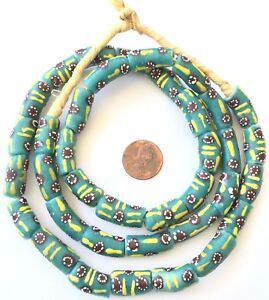 Handmade-African-Fern-cylinder-Recycled-glass-African-trade-beads