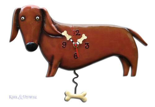Cute OSCAR DACHSHUND Brown Sausage Dog Designer Wall Clock by Allen Designs