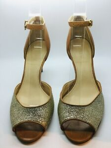 J-CREW-Brown-Leather-Glitter-Size-7-5-LARA-Peep-Toe-Heeled-Pump