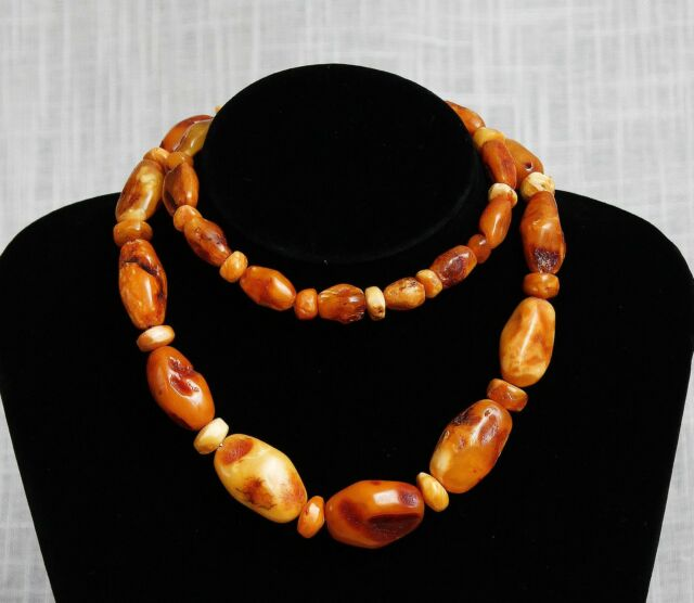 Antique Natural Butterscotch Egg Yolk  Baltic Amber Beads Necklace 77Gr.