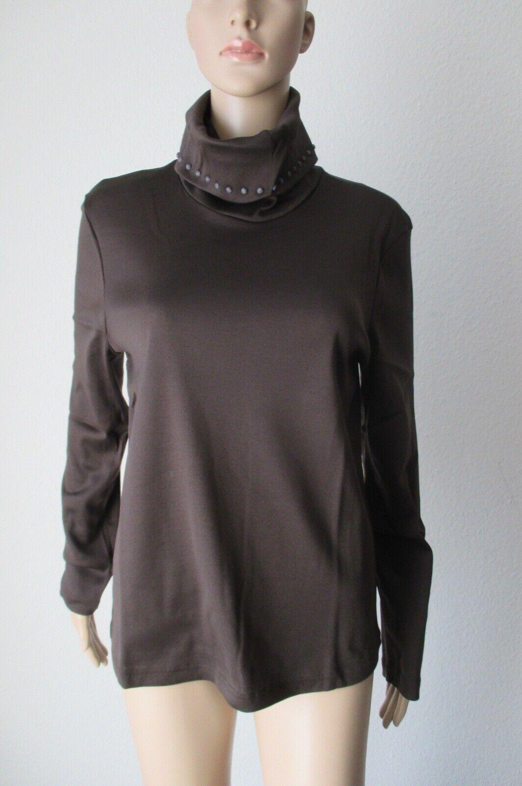 Efixelle, Shirt, Wasserfallkragen, mit langem Arm, Farbe braun, Größe 40