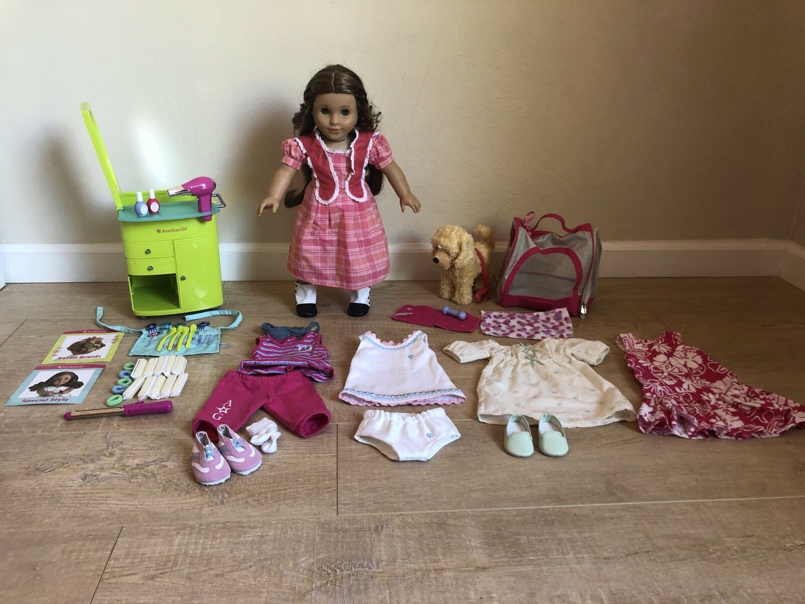 American Girl Lot Retirot Marie Grace Doll, Salon, Clothes, Dog, Accessories Ect