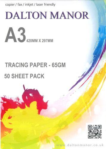 Paquetes de 25//50//100//250 Hojas A3 papel de calcar Translúcido 65gm caligrafía//Crafts
