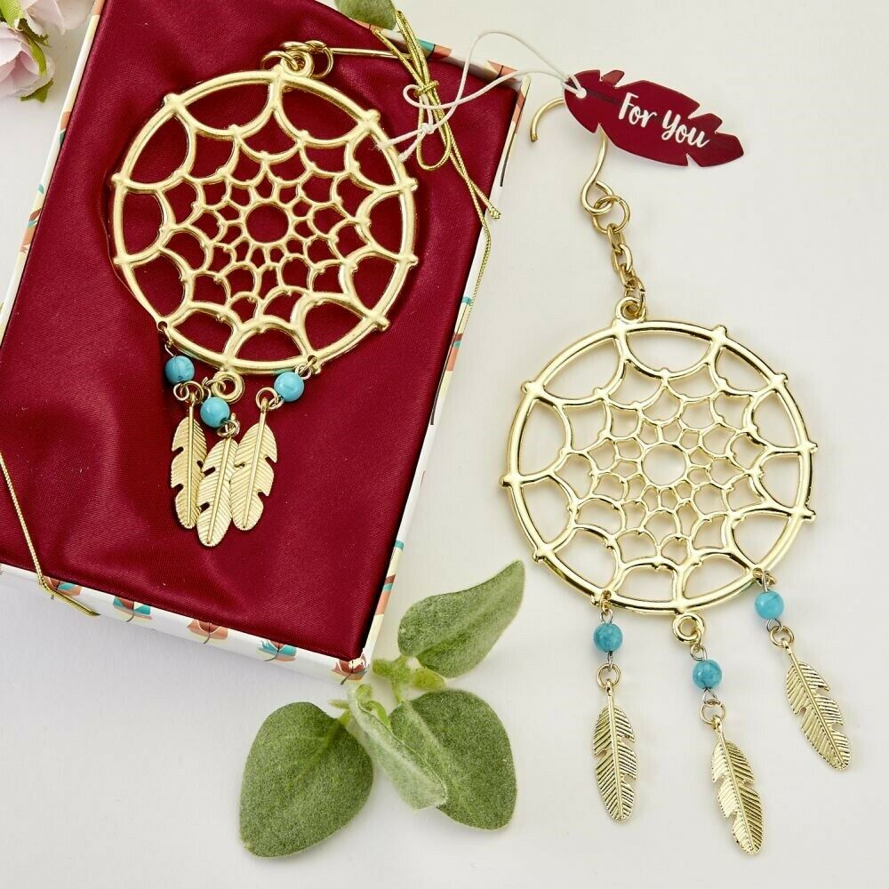 125 Gold Dream Catcher Hanging Ornament Wedding Bridal Baby Shower Party Favors