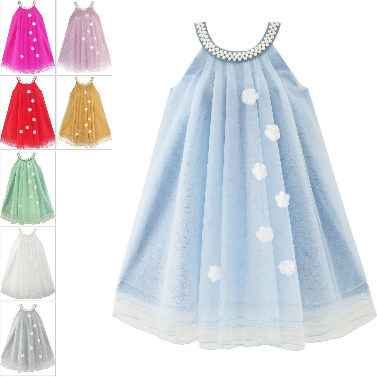 Flower Girl Dress Sparkling Pearl Belt Gray Wedding Bridesmaid Pageant Size 3-14