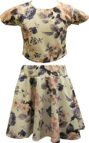 Girls Floral Flower Skater Skirt Cropped Top Set Suit Short Sleeve Age 7-13years