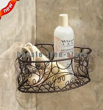 Bronze Shower Caddy Suction Cup Metal Corner Basket Bathroom Organizer Bath  Rack