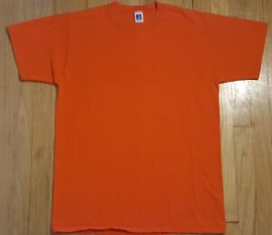 Vintage-90s-RUSSELL-ATHLETIC-blank-shirt-L-orange-plain-basic-tshirt-100-cotton
