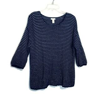 Chico-039-s-Sweater-Size-2-XL-Blue-Metallic-Striped-3-4-Sleeve-Pullover