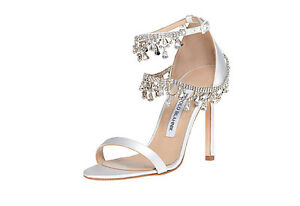 Image Is Loading 1455 New Manolo Blahnik White Satin Houristra Crystal