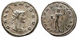 *AET* GALLIENUS Bi Antoninianus. VF+. SILVERED. Antioch mint. IOVI CONSERVATORI.