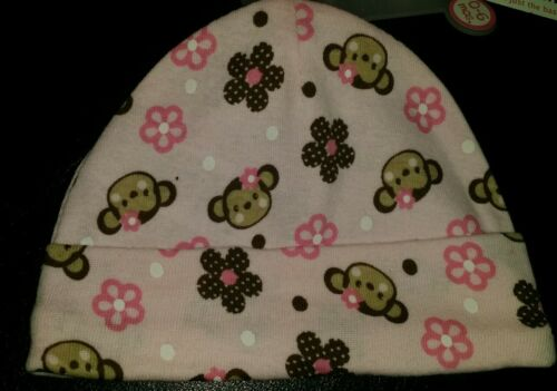 CUTE BABY ESSENTIALS INFANT BABY GIRL/'S PACK CAPS MONKEY FLOWER DOTS /& PINK.